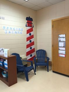 Nautical Classroom Reading Island Lighthouse is made of bulletin board paper. I spray painted these chairs to match. I was surprised that the paint lasted all year! New Classroom, Classroom Setting, Classroom Design, Classroom Displays, Classroom Themes, Classroom Libraries, Classroom Organization, School Decorations, School Themes