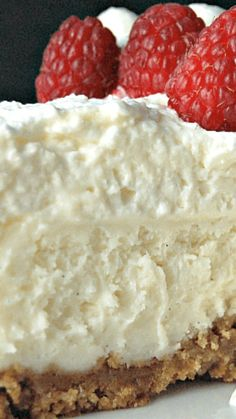 Vanilla Bean Cheesecake with White Chocolate Mousse _ BEST CHEESECAKE EVER! A layer of white chocolate mousse on top of cheesecake layer really sends it over the top. So creamy & luscious, it's CRAZY good!