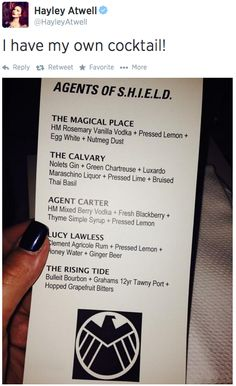 I like that is, 'agents of shieldy, agents of shieldy, agents of carter, LUCY LAWLESS, agents of shieldy.'