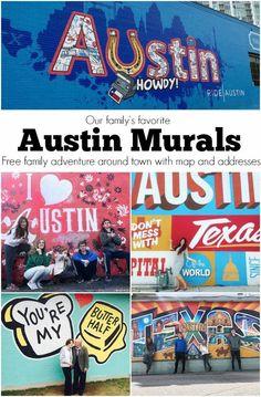 Austin Murals // Wall Crawl around town with the family Road Trip Texas, Texas Travel, Texas Tourism, Road Trips, Downtown Austin Texas, Austin Tx, Austin With Kids, Austin Murals, Austin Skyline