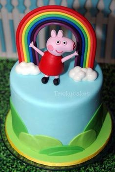 Peppa Pig Rainbow Cake by Tricky Cakes, Fawkner, Victoria, Australia. You'll find this Cake Appreciation Society Member in our Directory at www.cakeappreciationsociety.com