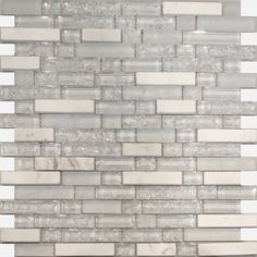 Super White Crackle Glass & White Carrera Marble Linear Mosaic Tile  in stock $14.99/SF