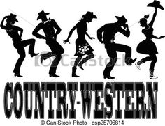 Vector - Country-western dance silhouette ba - stock illustration, royalty free…