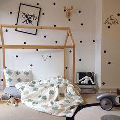 wood house framed bed