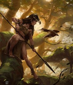 Huntress by Castaguer93 female ranger hunter warrior jungle forest armor clothes clothing fashion player character npc | Create your own roleplaying game material w/ RPG Bard: www.rpgbard.com | Writing inspiration for Dungeons and Dragons DND D&D Pathfinder PFRPG Warhammer 40k Star Wars Shadowrun Call of Cthulhu Lord of the Rings LoTR + d20 fantasy science fiction scifi horror design | Not Trusty Sword art: click artwork for source