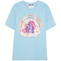 Moschino + My Little Pony printed cotton-jersey T-shirt ($250) ❤ liked on Polyvore featuring tops, t-shirts, shirts, blue, 1980s t shirts, 80s t shirts, 80s tops, glitter top and blue t shirt