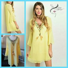 Embellished Yellow Dress So chic with a beautiful embellished with a southwest motif  which the stones and beads are hand sewn. Wear it with sandals or jazz it up with western  style boots! Made of  100% polyester and it is also lined. Dry clean only.   Available in sizes X-Small, Small, and Medium. (I only have one available in  x-small).  **PLEASE DO NOT PURCHASE THIS LISTING JUST COMMENT BELOW WHICH SIZE YOU WOULD LIKE AND I WILL CREATE A LISTING JUST FOR YOU** PRICE IS FIRM UNLESS…