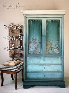Blue Armoire with transfers