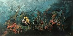 Seahorse love - 2019 x 75 cm. Painting, Paintings, Artists, Painting Art, Painted Canvas, Drawings