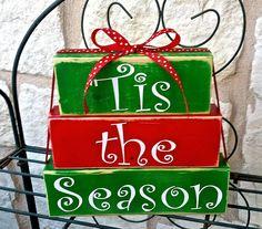 Christmas Blocks, Christmas Wood Crafts, Christmas Signs Wood, Holiday Signs, Christmas Projects, Holiday Crafts, Christmas Crafts, Christmas Decorations, Christmas Ornaments