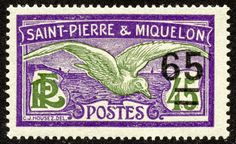 "1925 Scott 124 65c on 45c violet & olive green ""Fulmar Petrel"" Between 1924-27, stamps and types of 1909-17 were surcharged in black, blue, or red. The eleven stamp set has a CV of <$1-$3+ for seven stamps."