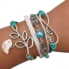 Turquoise Bird and Owl Hope Arm Party Bracelet