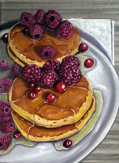 Pancakes with Berries by Vic Vicini Watercolor Fruit, Food Painting, Painting Still Life, Food Drawing, Fruit And Veg, Food Illustrations, Food Photo, Food Pictures, Deserts