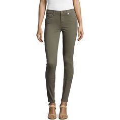 7 For All Mankind Mid-Rise Skinny Jeans ($178) ❤ liked on Polyvore featuring jeans, fatigue, stretch jeans, super stretchy skinny jeans, mid rise skinny jeans, lined jeans and skinny jeans