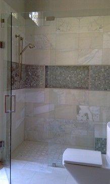 Curbless Shower - contemporary - bathroom - dallas - Kasper Custom Remodeling, LLC too wide? Accent Tile Bathroom, Bathroom Renos, Bathroom Ideas, Master Bathroom, Shower Ideas, Tiny Bathrooms, Beautiful Bathrooms, Niche Design, Shower Niche