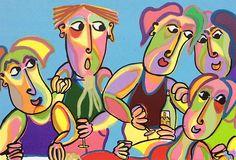 Schilderij Noche de verano van Twan de Vos, met vrienden, eten, praten, drinken op een prachtige zomeravond