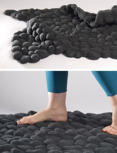Pebbles Rug via touch of modern. Made of real pebbles individually sewn into the fabric to form the rug.