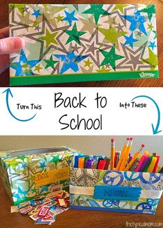 Back to school organization tips! Repurpose Kleenex and toilet paper rolls into a desk organizer and Box Tops for Education holder! Fun activity for kids. #btslikeaboss sp