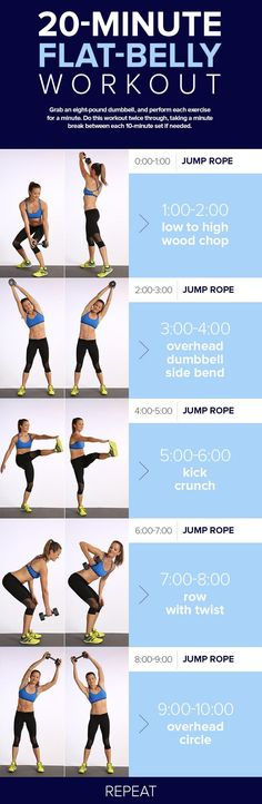 Combine cardio with core work to reap the flat-belly benefits of both types of sweat sessions in this quick, 20-minute workout. It alternates between jumping rope and standing ab exercise, so you c…