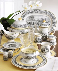 Buy Casual Dinnerware & Everyday Dinnerware Sets - Macys This would be great in my kitchen/dining area Porcelain Dinnerware, Dinnerware Sets, China Dinnerware, Porcelain Mugs, Classic Dinnerware, Casual Dinnerware, White Trellis, Beautiful Table Settings, Side Plates