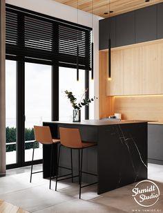 Project Warm | Minsk, Belarus on Behance Kitchen Room Design, Home Room Design, Modern Kitchen Design, Home Decor Kitchen, Kitchen Interior, Dining Area Design, Futuristic Furniture, Office Interior Design, Cool House Designs