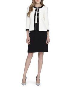 Tahari Arthur S. Levine Two-Piece Flower Trim Jacket Skirt Suit Women'