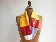USC T Shirt Infinity Scarf / Trojan Football / Burgundy by ohzie