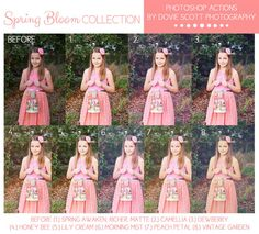 Spring Bloom Collection Photoshop Actions PSE by DovieScottPhoto, $32.99 Spring Clean Action, Colorful actions, Matte Action, Airy Action, Vintage Action, Creamy Skin