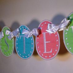 """Easter Egg Banner In The Hoop Banners Machine Embroidery Designs Applique Patterns all done In-The-Hoop in 5 sizes 4"""", 5"""", 6"""", 7"""", 8"""". $4.95, via Etsy."""