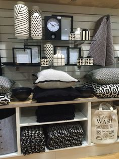 Retail store display of black & white homewares.Visual Merchandising. VM. Housewares / Linens display.