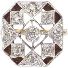 Art Deco 1930's .66ct t.w. Old European Cut Diamond Two Tone Anniversary Cocktail Ring 14k Platinum found at www.rubylane.com