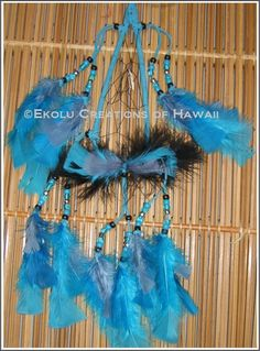 7 inch Tear-Drop Shape Turquoise Hoop Dream Catcher - $45.00 - Handmade Speciality / Traditional, Crafts and Unique Gifts by Ekolu Creations of Hawaii