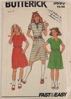 Vintage 70s Sewing Pattern Girls Dress Size by SuzisCornerBoutique