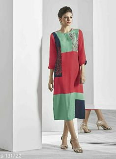 Embroidered Colorblock Kurtis*