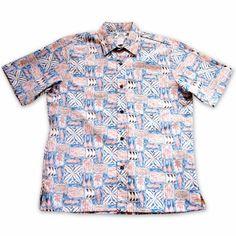 Olukai Orange Hawaiian Reverse Shirt