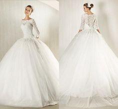 2015 New Modest Lace Long Sleeves Bridal Ball Gown White/Ivory Wedding Dress A Line Custom Bateau Neckine Elegant Valentine's Day Bridal ZC from Engerlaa,$152.91   DHgate.com