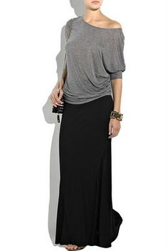 I just bought a striped gray and black maxi skirt today but I can't figure out what to wear it with!