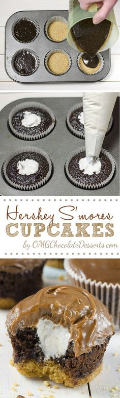Hershey's S'mores Cupcakes - delicious chocolate cupcakes with a graham cracker crust, filled with light and fluffy marshmallow filling and topped with milk chocolate ganache. #smores #cupcakes #recipe