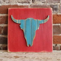 Steer Wooden Wall Art Distressed Antique Red and Aqua Bead Board... ($28) ❤ liked on Polyvore featuring home, home decor, wall art, grey, home & living, home décor, wall décor, wall hangings, outside wall art and red wall art
