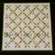 """Our March table topper for """"dress your table"""" call the shop to get your kit today Broken Wrist, Quilting Room, Nine Patch, New Class, Girls Quilts, Quilted Table Runners, Table Toppers, Material Girls, Chains"""