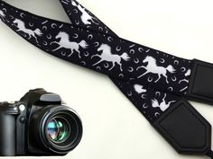White horses camera strap. Black and white camera strap. DSLR / SLR Camera Strap. Durable, light weight and well padded camera strap. 00045