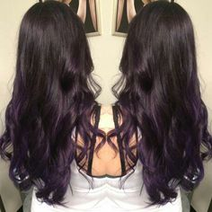 Dark brown to purple balayage ombre. Hair by Somer Griffin.