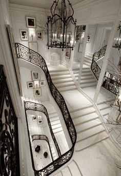 Ralph Lauren's Madison Avenue Women's Collection Boutique.  Black. White. Entry.  Staircase