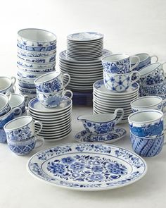 Traditional Blue &White Dinnerware by NM EXCLUSIVE at Horchow. Many years ago, Wegmans sold this dinnerware one holiday season. I wish I had bought more of it then. They had a better shaped mug and you could buy pieces individually.