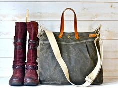 Waxed canvas bag diaper bag waxed canvas tote by ikabags on Etsy Waxed Canvas Bag, Canvas Messenger Bag, Canvas Tote Bags, Canvas Travel Bag, Travel Bags, Medium Bags, Vogue, Leather Handle, 5 D