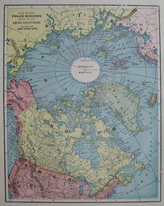 Antique NORTH POLE Map ARCTIC Region Map Polar by plaindealing
