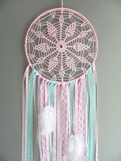 Pink and mint nursery dreamcatcher Boho wall hanging decor Bohemian girls room decoration Crochet lace dream catcher Baby shower gift This pink and mint lace nursery dream catcher is a beautiful bo… Diy Nursery Decor, Mint Nursery, Baby Decor, Bohemian Girls, Bohemian Decor, Bohemian Nursery, Lace Dream Catchers, Dream Catcher Nursery, Crochet Dreamcatcher