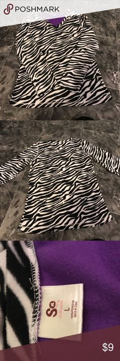 Super soft pajama top Zebra print pajama top. Never worn. Extremely soft! Size large. Don't be afraid to make some offers or bundle and save!! Intimates & Sleepwear Pajamas