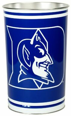 """NCAA Duke Blue Devils Wastebasket by WinCraft. $19.99. 15 inches tall by 10.5 inches in diameter. Great for Home, Dorm or Office. Made in the USA. Durable, heavy-gauge metal. Lithographed team graphics wrapped around tapered can.. Officially licensed wastebasket. These metal wastebaskets are a great way to decorate a room or office. Wastebaskets are 15"""" tall by 10.25"""" diameter and are tapered for easier storage. Made in USA."""