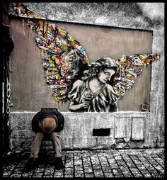 street art angel on the wall near rue Denoyez